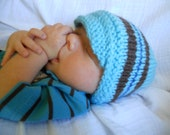 Brim Hat for Baby, Little Baby Boy Blue and Brown Cap, Knit Hat, Baby Photo Prop Hat