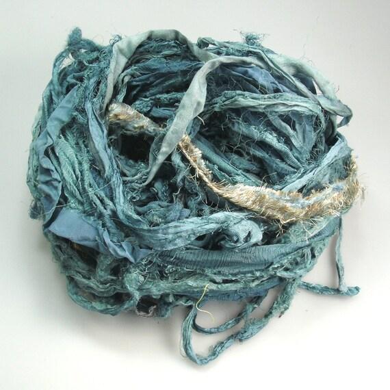 Chiffon Silk Sari ribbon Called Antique Aqua Grunge