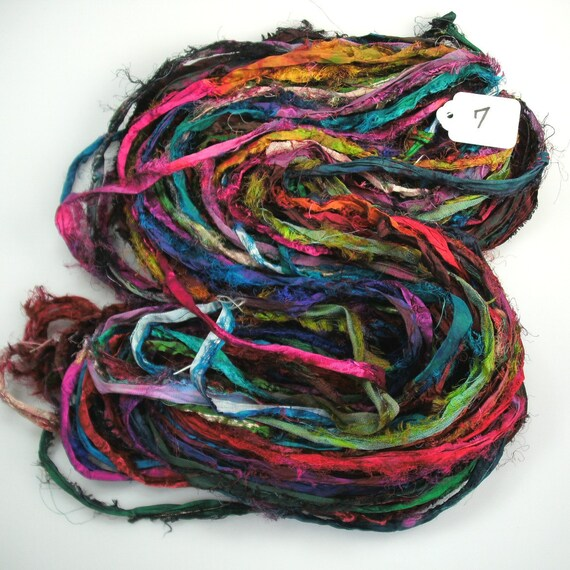 Multi color Silk Sari ribbon soft soak Vintage Fade HUGE skein