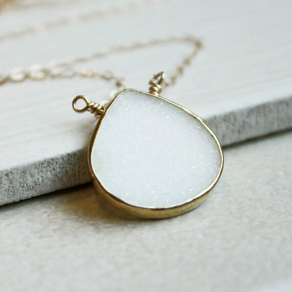 Gemstone Necklace -  Druzy  Quartz - Delicate - Gold Filled -  Handmade  - Gemstone Jewelry