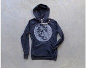 Mens sweatshirt - winter fashion - S-XL - full moon screenprint on Alternative Apparel heather black hoodies - gift for him