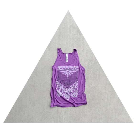 Womens oversized viscose tank top - boho fashion - arrows and lace screenprint on orchid - THE NOMAD