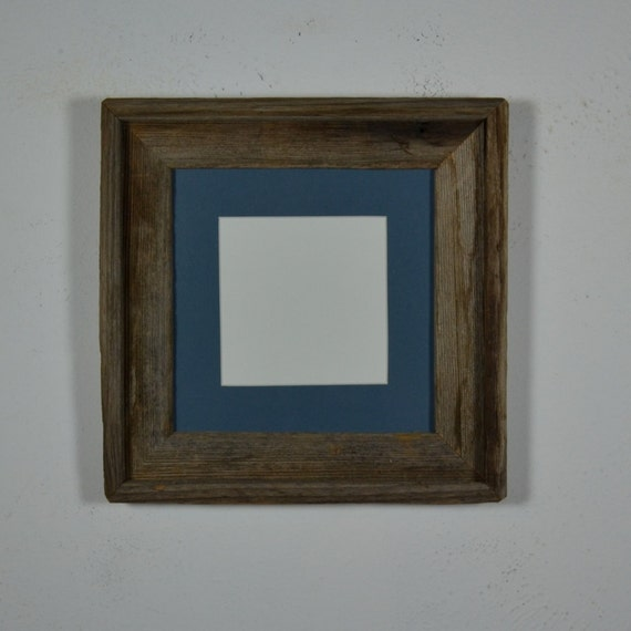 Rustic Photo Frame 8x8 With 5x5 Blue Mat Weathered By