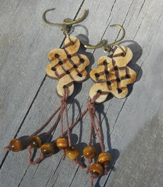 Celtic Knot Earrings, Earth tones, tiger eye, fringe, rustic, organic