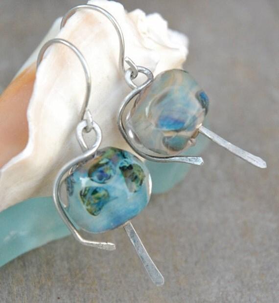 Deep Sea -  lampwork glass earrings