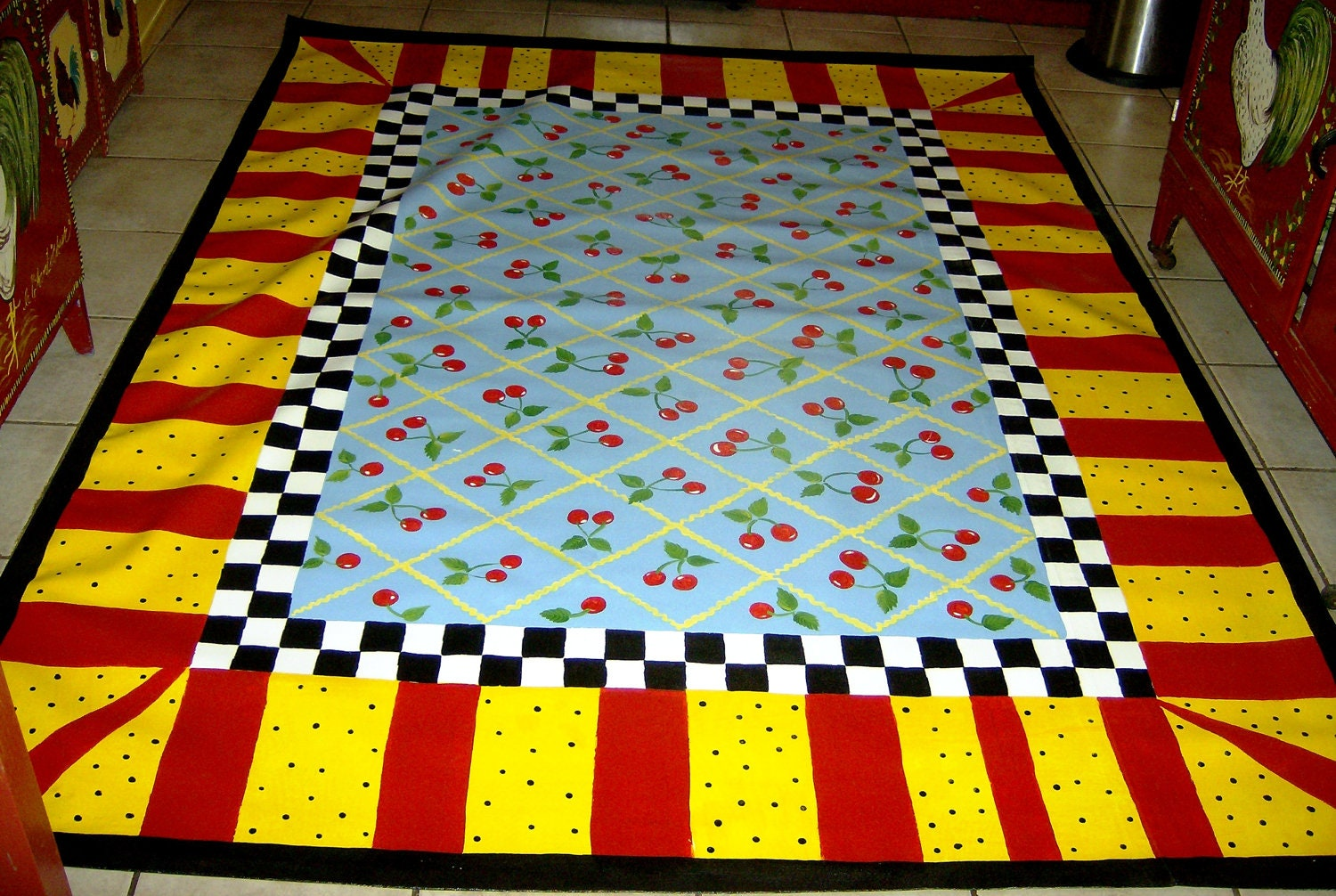Floorcloth Country Cottage Decor 4 X6