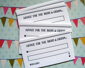 Letterpress Advice Cards - bride and groom (pack of 50)