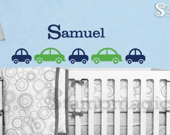 Cars Wall Decal with Name - nursery decor baby boy room vinyl wall decal art - K084