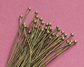 50 pcs of  Antique Brass Ball end head pin  22 gauge with 2mm ball  - 2 inch long