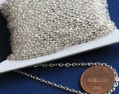 Sale 45 ft of Silver Plated chain  iron flat cable chain 2X3mm unsoldered, Bulk silver chain