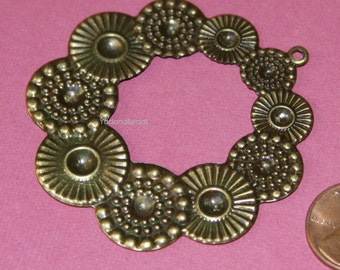 Antique Brass flower pendant 54x67mm