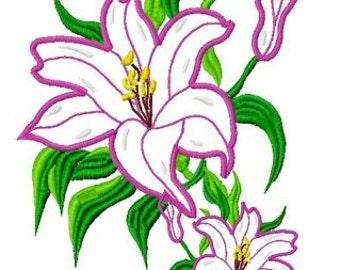 Lily Applique Machine Embroidery Design   2417
