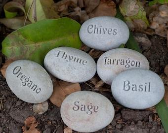 Natural Garden Markers - Plant marker, herb marker or custom word - Set of 10 Custom Rocks
