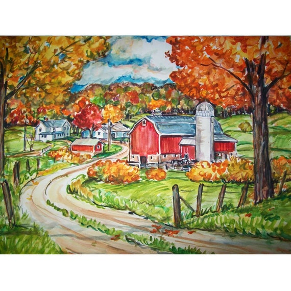 More Country Gold - 11x15 original painting landscape watercolor OOAK, Autumn, Fall, Farm, Country, Barn, Rural, Colorful Leaves