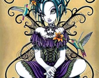 Lillian Gothic Flower Hummingbird Fairy 8x10 Signed PRINT