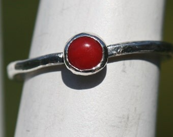 Red Coral Ring  Rustic Fine Silver  Small Red Ring  Pinky Size Thin Stacking Ring Midi Ring Coral US Size 3.75 by Maggie McMane Designs