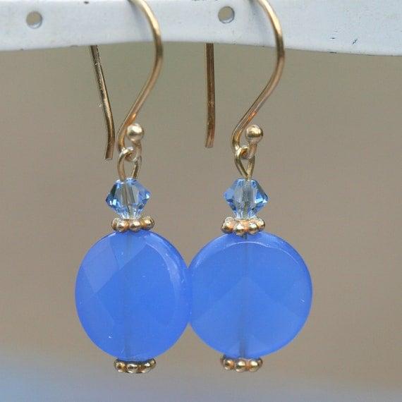 Blue Chalcedony Quartz Earrings , Blue Crystal Earrings , Gold Vermeil  Dangle Earrings by maggie mcmane designs