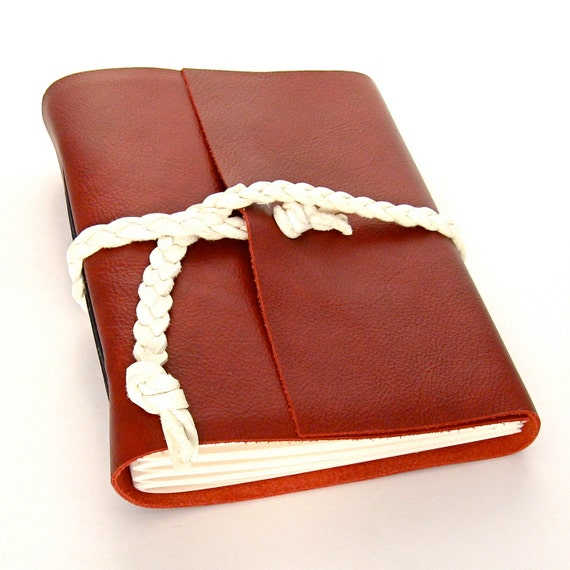 Nautical Red Leather Journal and Sketchbook in Red, Cream, and Blue
