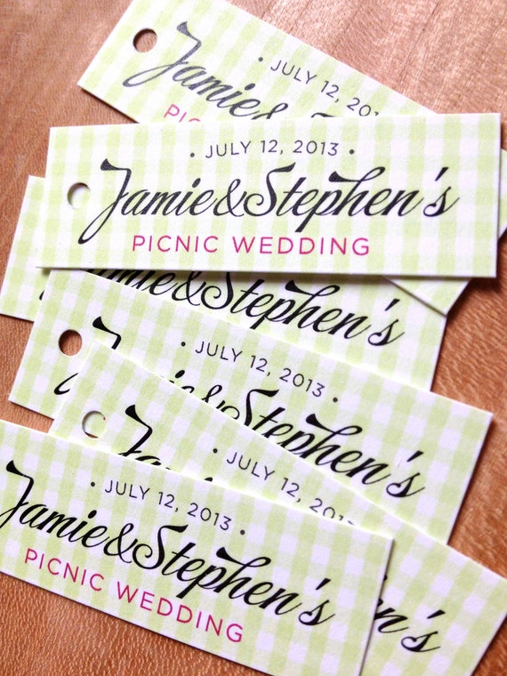 Gingham Wedding Favor Tags - Plaid Thank you tags - Wedding Gift Tags ...