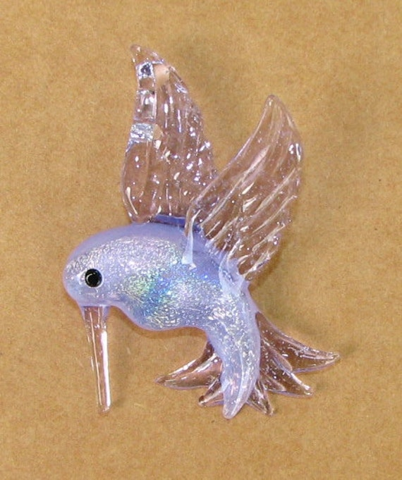 "Hummingbird Dichroic Glass Pendant ... ""Created by Tom Heath"""