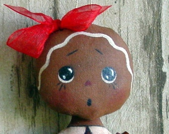 CF278 Itty Bitty Gingerbreads - PDF ePattern Cloth Gingerbread Doll Ornaments Pattern