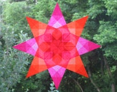Pink and Orange Window Star with Floral Center