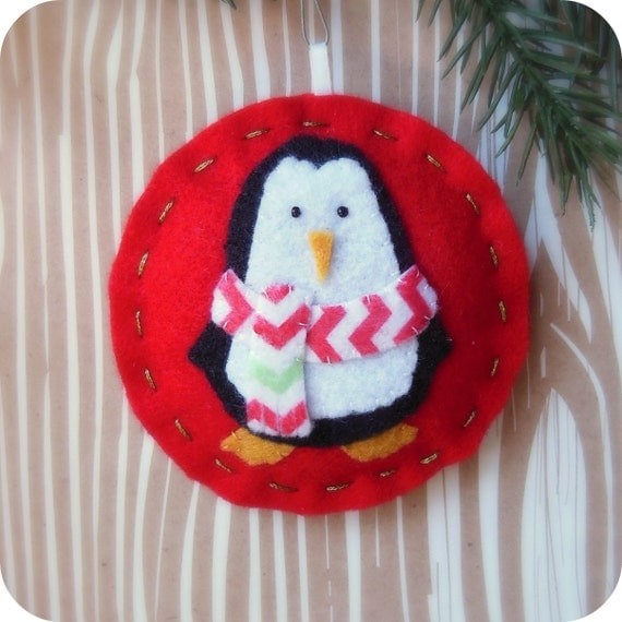 Cozy Winter Penguin No. 2 - Felt Christmas Ornament - Ready to Ship