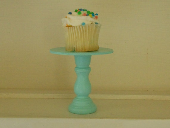 Aqua mini wood cupcake stand cakepop stand  pedestal
