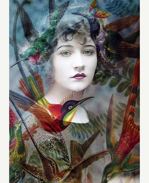 Fine Art Print, Giclee Archival Print, Woman Portrait, Portrait, Photomontage, Collage, Humming Birds