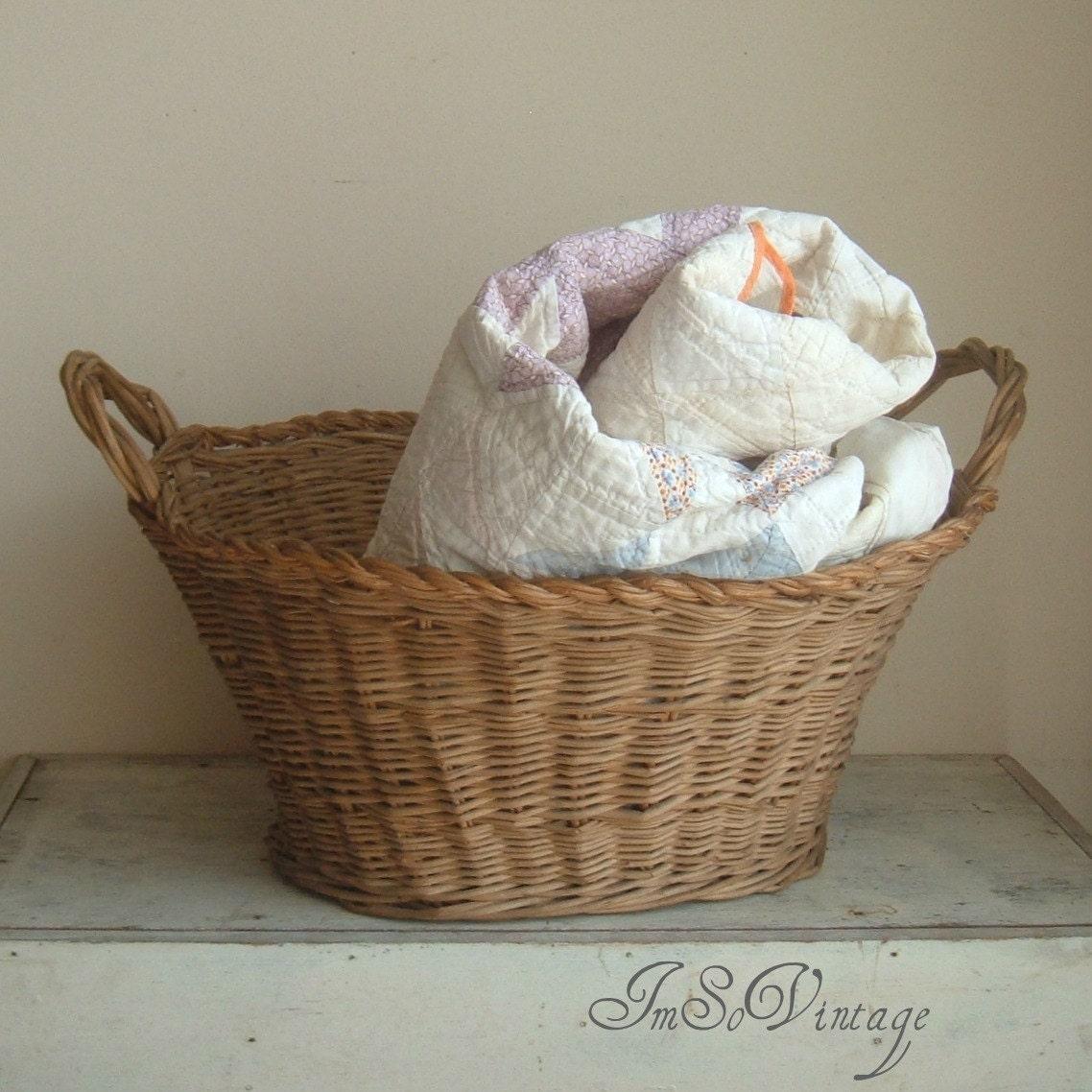 reserved vintage wicker laundry basket. Black Bedroom Furniture Sets. Home Design Ideas