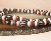Men's Unisex, Black, White and Red, Bone Necklace