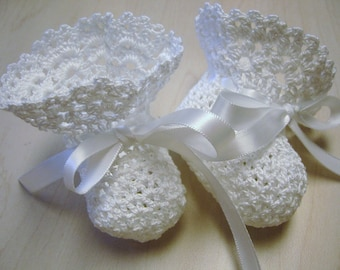 Christening Baby Shoes Crochet Christening Booties White Newborn Baby Girl or Reborn Doll
