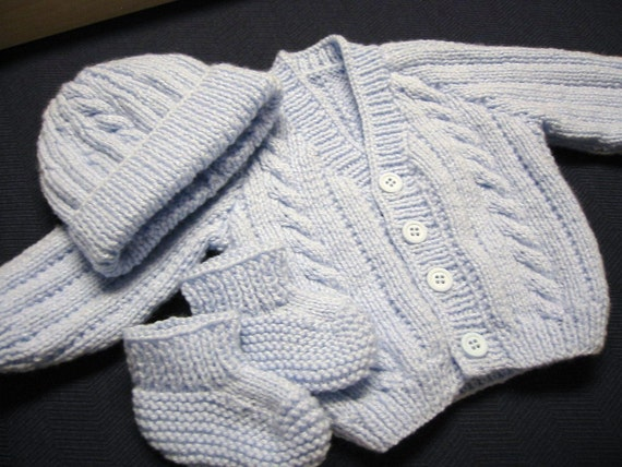 Hand Knitted Newborn Baby Boy Sweater Hat and Booties Blue Cables