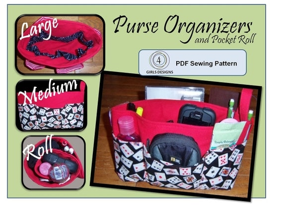 Instant Download Sewing Pattern iPad and iPad Mini, Nook HD, Kindle Fire 8.9: size 3 Purse Organizer Inserts