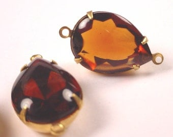 Vintage Cognac amber Glass domed Faceted Pear Connector Charms 18x13 2 Ring Open Back Brass