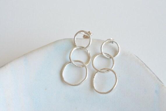Minimalist Three Rings Sterling Silver Hoop Post Earrings
