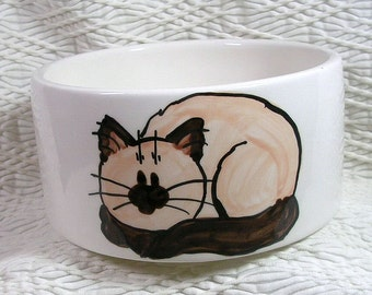 Medium Cat Bowl Siamese Or Himalayan Cat and Paw Prints Inside 20 Oz. Ceramic