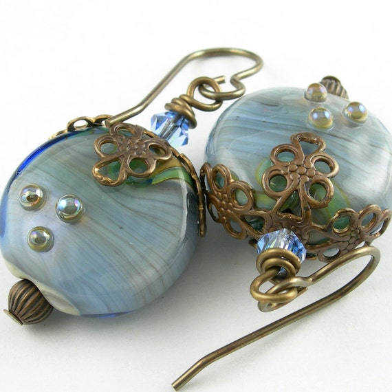 Blue Lampwork Glass Earrings with Crystal and Vintaj Antiqued Brass - Vintage Denim