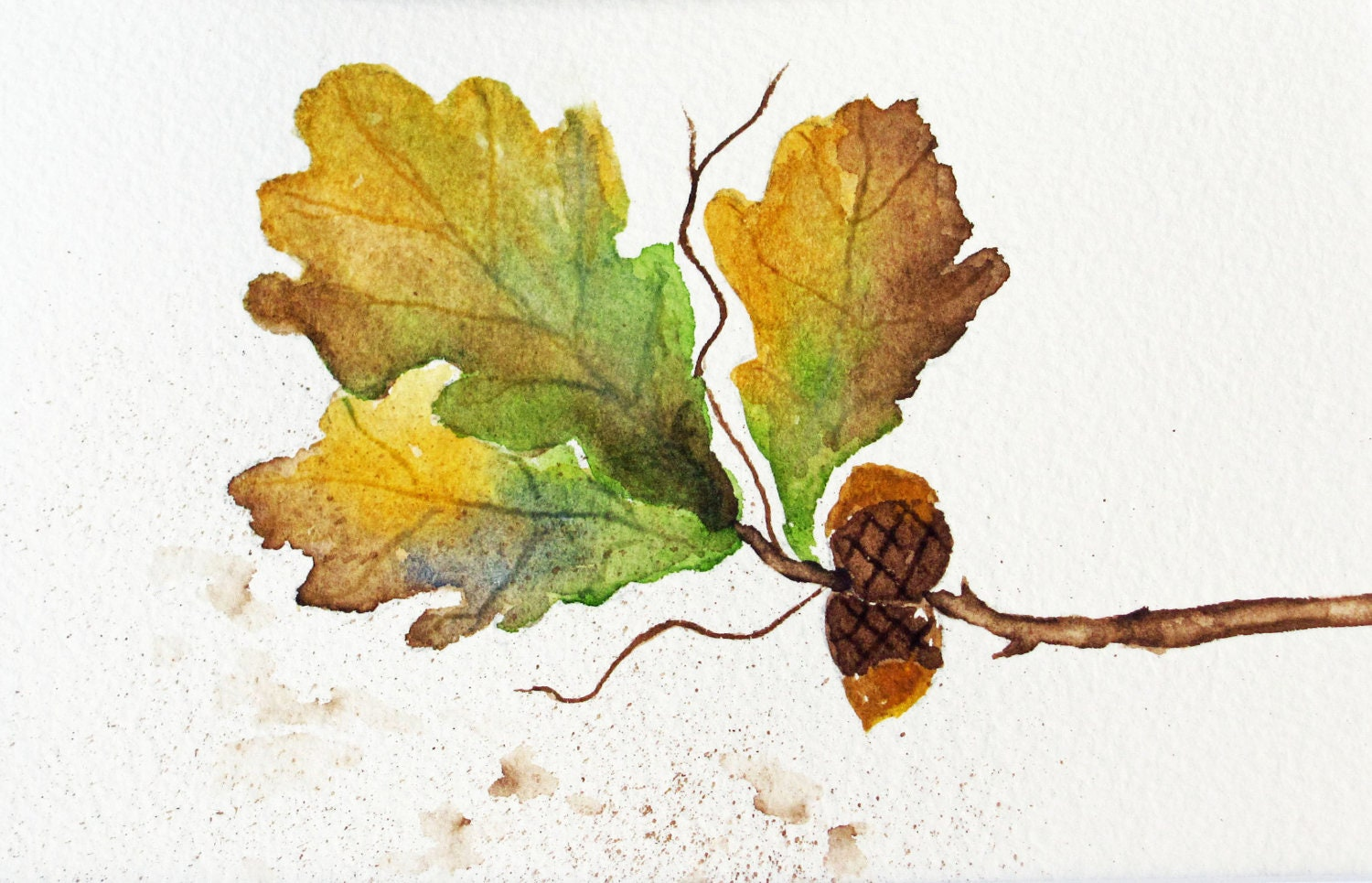 autumn leaves watercolor painting