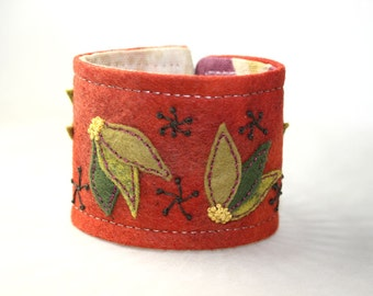 Rust Textile Fabric Hand Embroidery Felt Autumn Leaf Wrist Cuff Bracelet