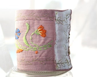 Vintage Recycled Textile Fabric Embroidery Cuff Bracelet Eco Friendly Soft Pink Linen