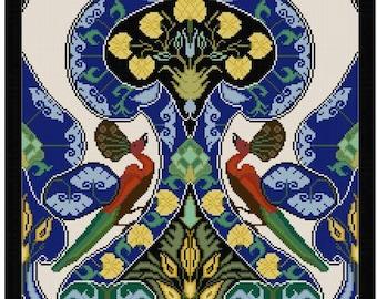 William Morris Bird Tile adaptation Cross stitch pattern PDF