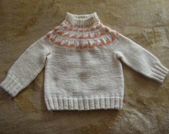White Wool Child's Seamless Sweater with Peachy Points