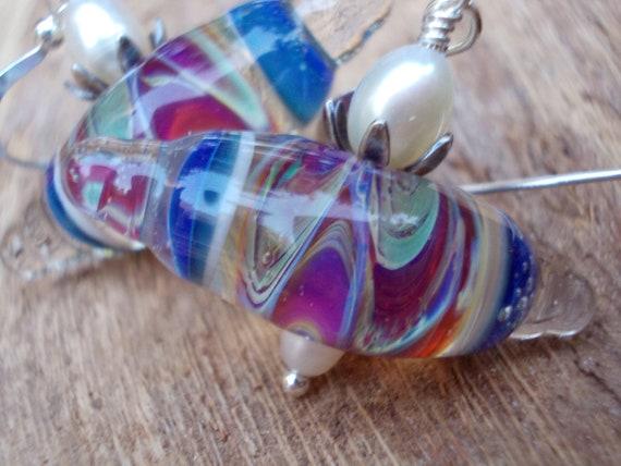 Lampwork glass earrings 925 sterling silver handmade beads artist lampwork freshwater pearls waves wings beach summer modern dangle earrings