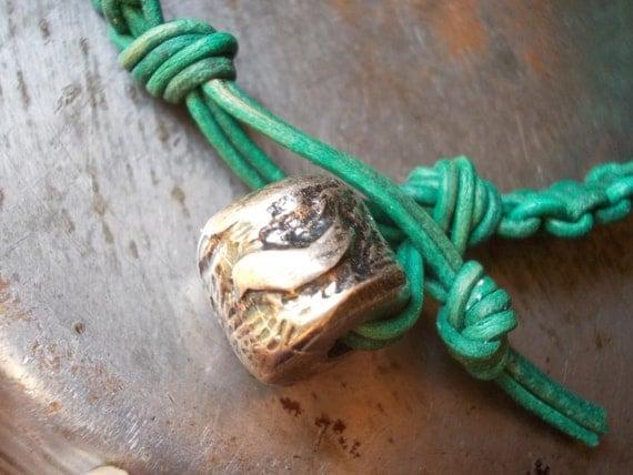Leather Bracelet Dove peace turquoise leather bracelet bird silver copper macrame bracelet  friendship 60s sixties metal wrap men knot