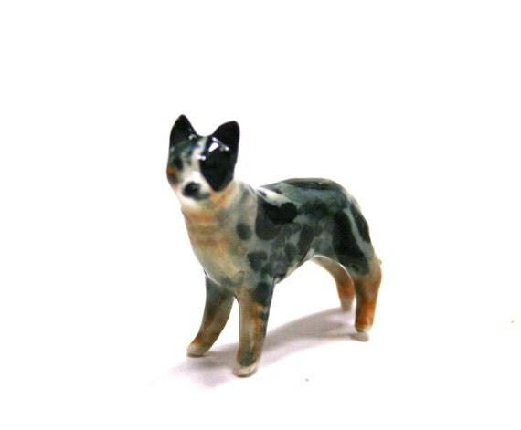 dog figurine - australian cattle dog - blue heeler -  porcelain animal figurine