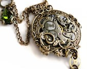 Steampunk necklace, Steampunk jewelry, Victorian pocket watch necklace, steampunk pendant, filigree statement necklace, steampunk jewellery