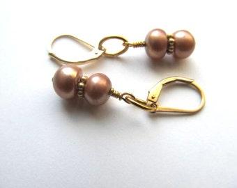Pearl Earrings, Peach Bronze, 14K Gold Filled Leverback Earwires