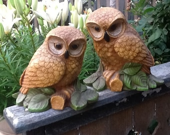 Woot Woot Vintage 1970s Era Pair of Owl Heavy Resin Statues Figurines