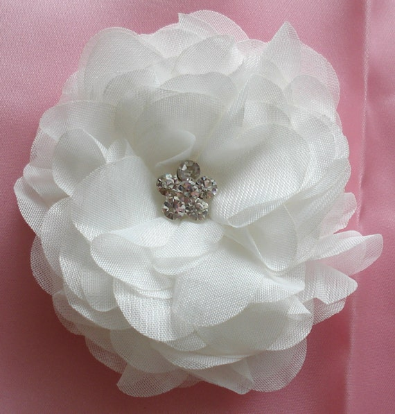 Bridal Hair Wedding Headpiece White Silk Floral Hair Clip Fascinator Crystal Rhinestones